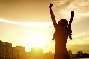 Woman celebrating sport success